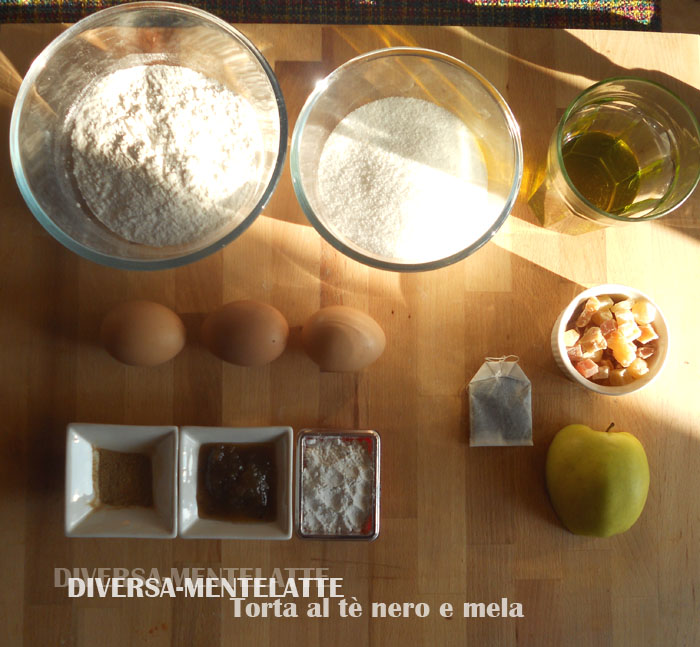 Ingredienti torta tè nero e mela