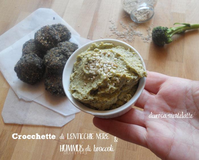 Crocchette di lenticchie-nere con hummus di broccoli
