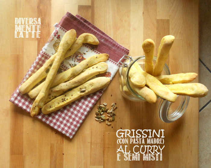 Grissini con pasta madre al curry e semi