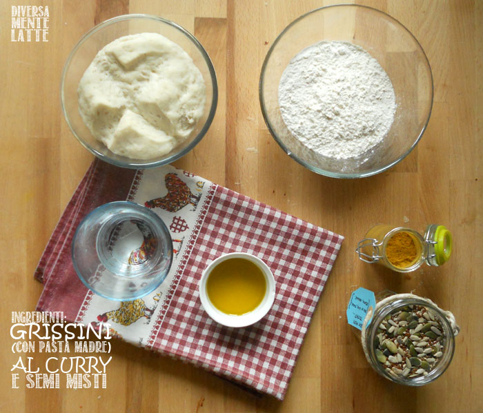 Ingredienti grissini con pasta madre al curry