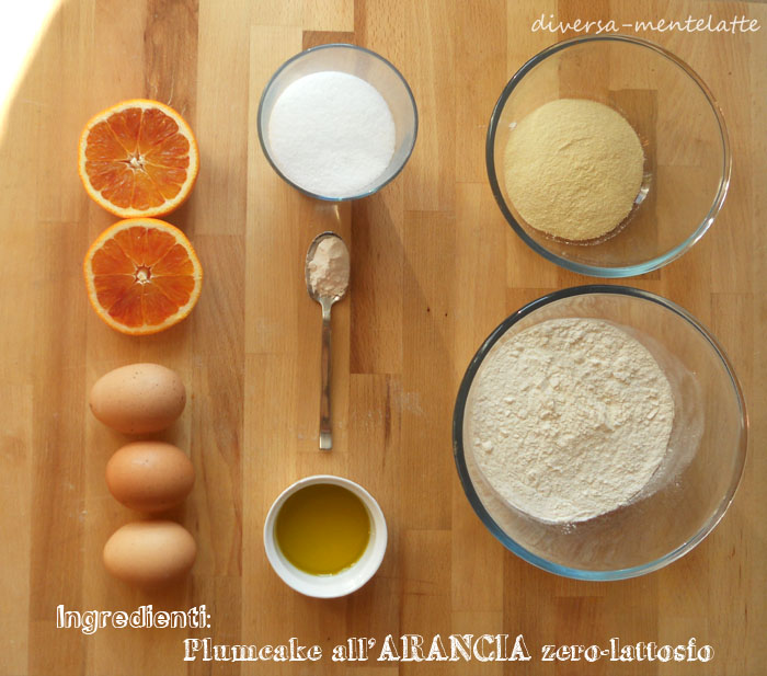 Ingredienti plumcake arancia zero lattosio