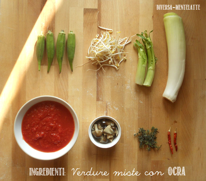 Ingredienti verdure miste con ocra