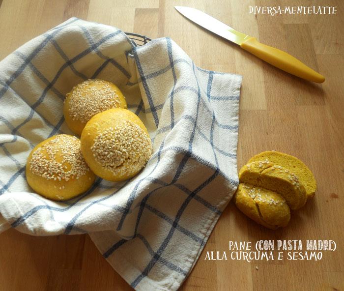 Pane con pasta madre alla curcuma sesamo