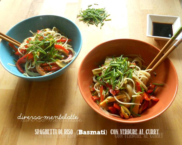 Spaghetti di riso basmati con verdure al curry