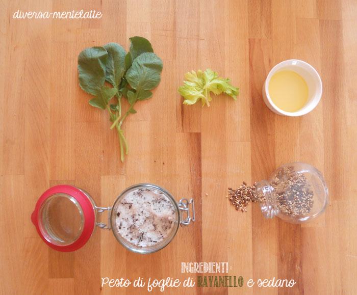 Ingredienti pesto di foglie di ravanello e sedano