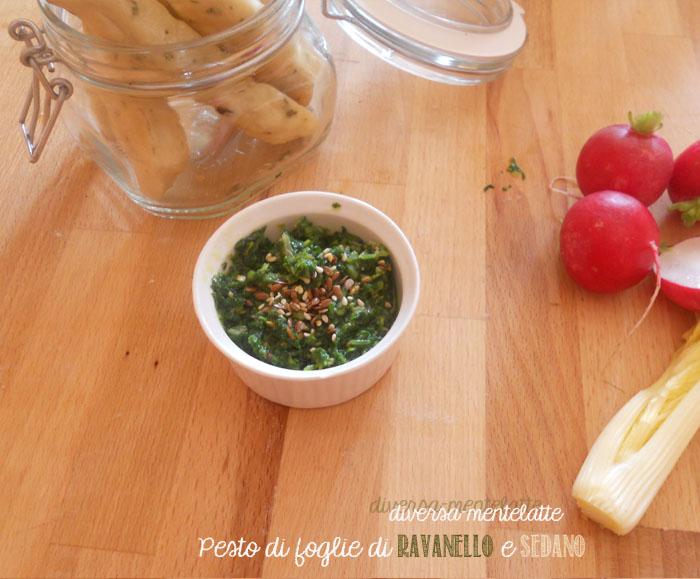 Pesto con foglie di ravanello e sedano