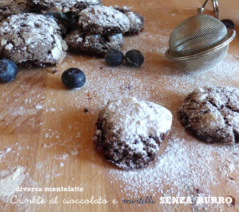 Crinkle cioccolato mirtilli senza burro