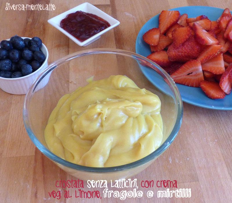 Crostata con crema veg al limone fragole mirtilli