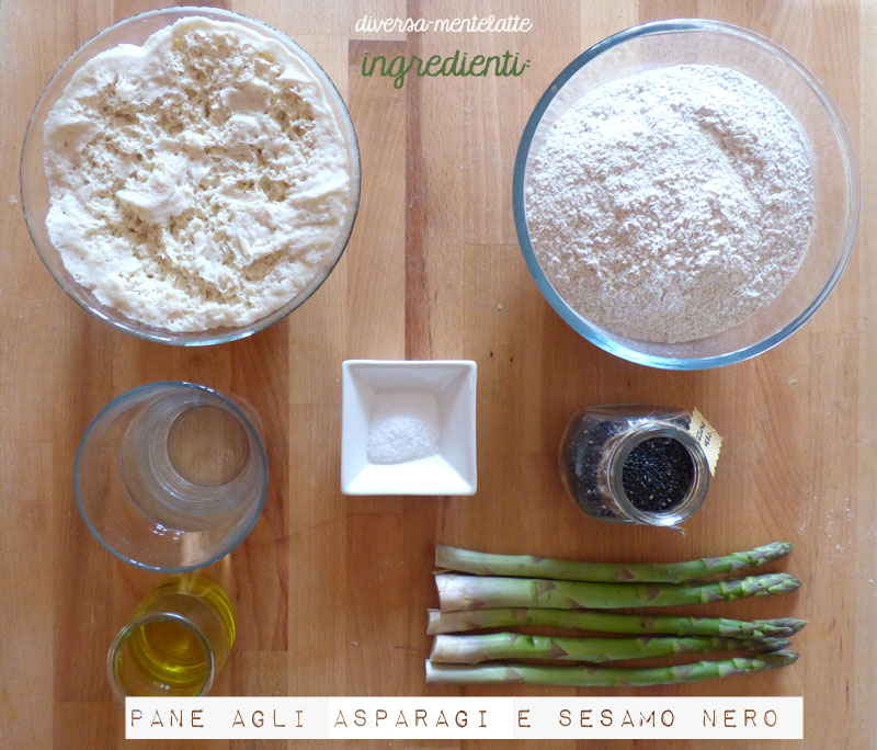 Ingredienti pane agli-asparagi e sesamo nero