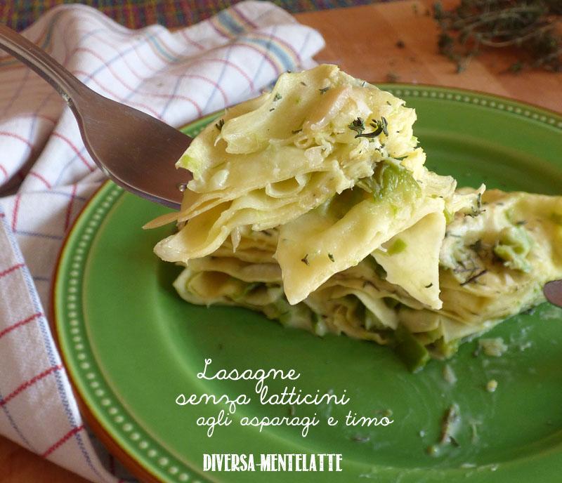 Lasagne senza latticini con asparagi timo