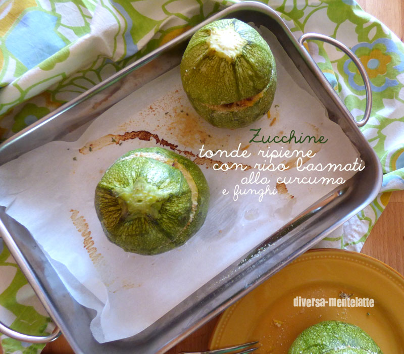 Zucchine tonde ripiene con-riso-basmati alla curcuma e funghi
