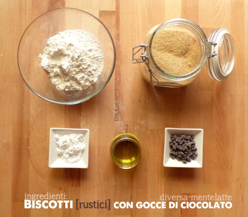 Ingredienti biscotti rustici con gocce di cioccolato