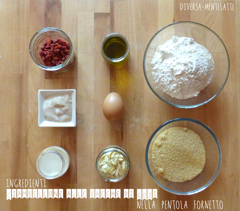 Ingredienti ciambellone bacche-goji nella pentola fornetto