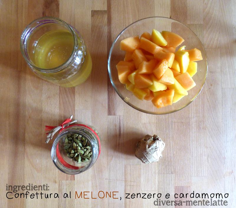 Ingredienti confettura al melone zenzero e cardamomo