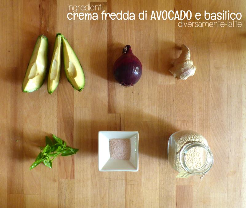 Ingredienti crema fredda di avocado e basilico