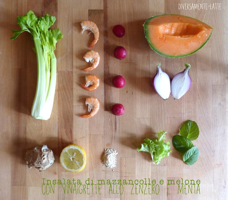 Ingredienti insalata di mazzancolle e melone