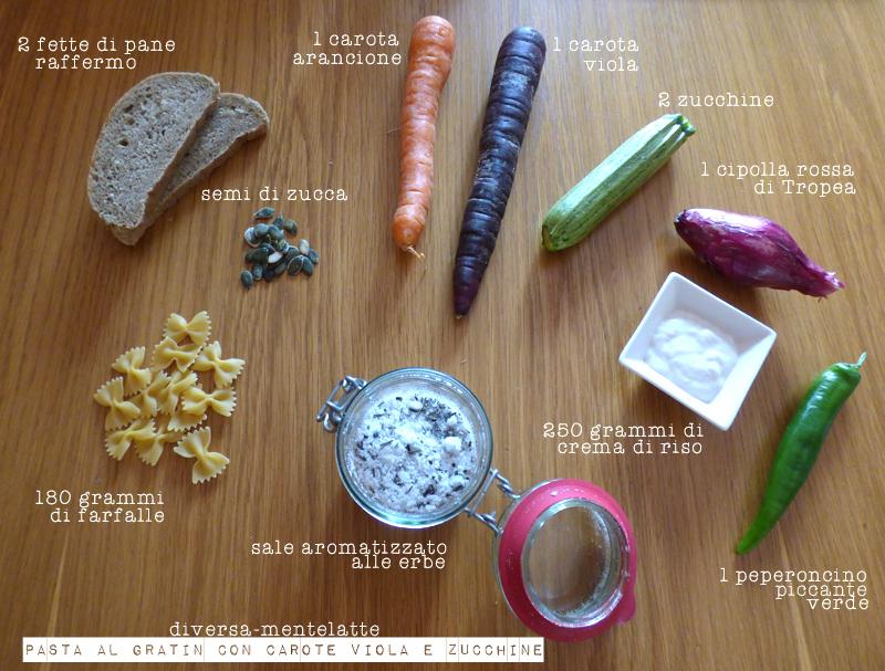 Ingredienti pasta al gratin-con carote viola e zucchine