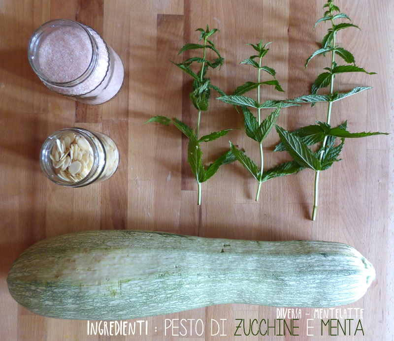 Ingredienti pesto di zucchine e menta