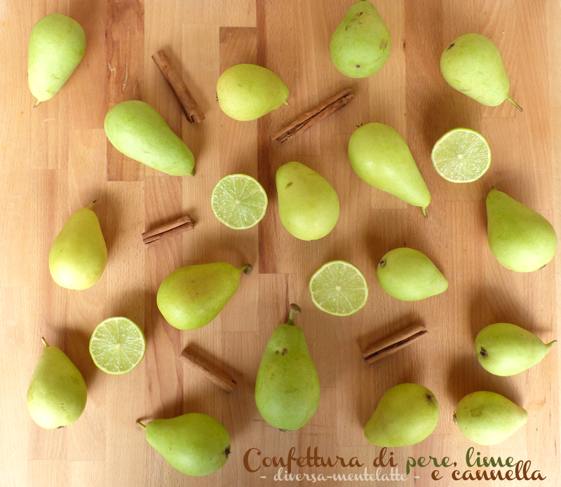 Ingredienti confettura pere lime cannella