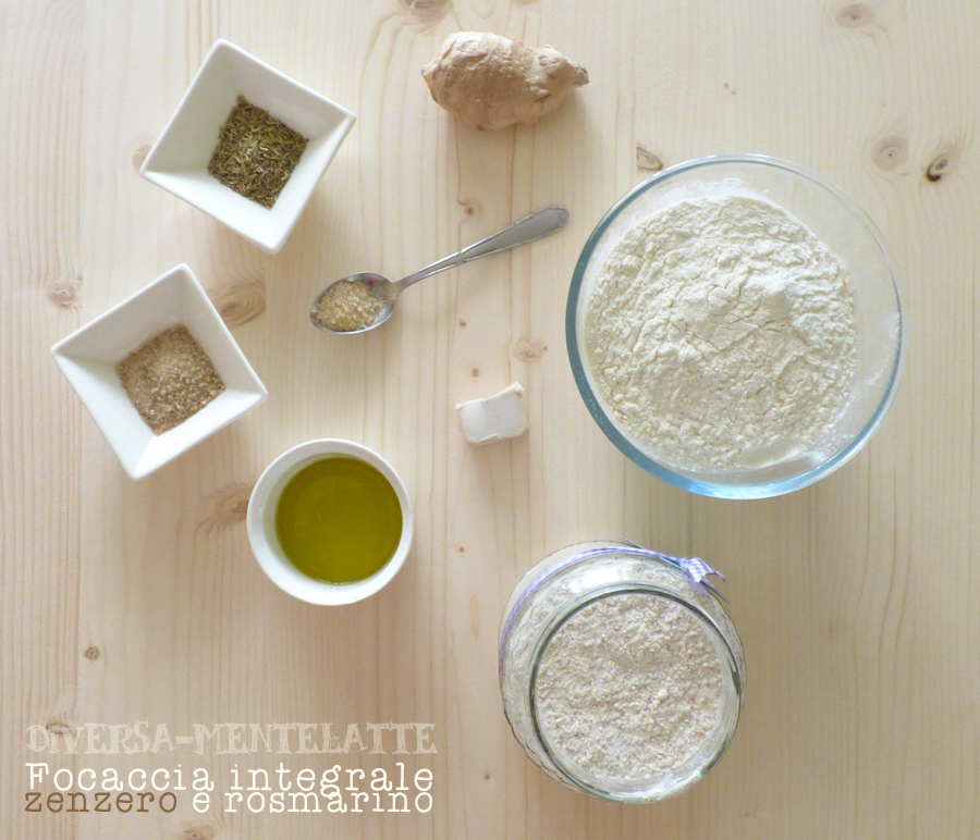 Ingredienti focaccia-integrale zenzero rosmarino