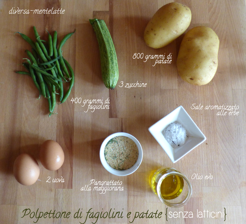 Ingredienti polpettone fagiolin patate senza latticini