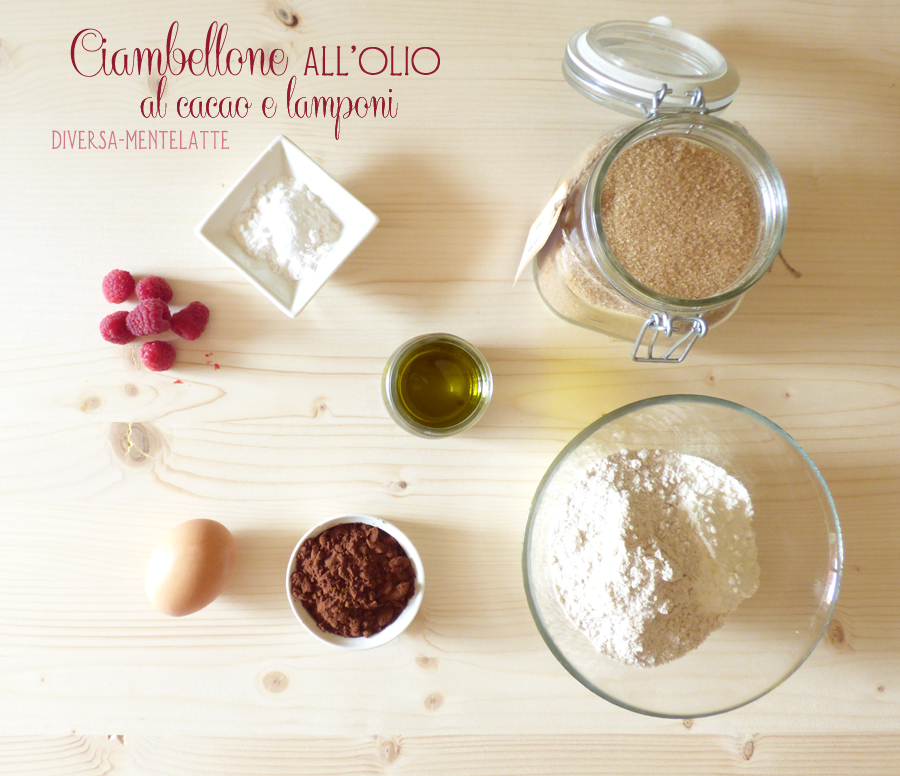 Ingredienti ciambellone olio cacao e lamponi