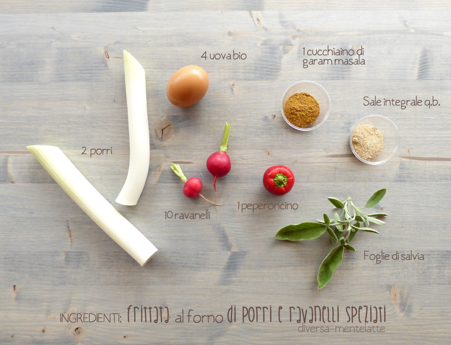 ingredienti frittata al forno porri ravaneli speziati