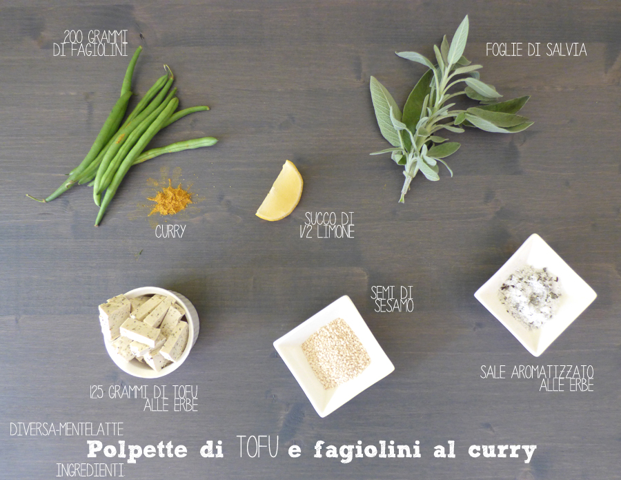 ingredienti polpette tofu fagiolini curry