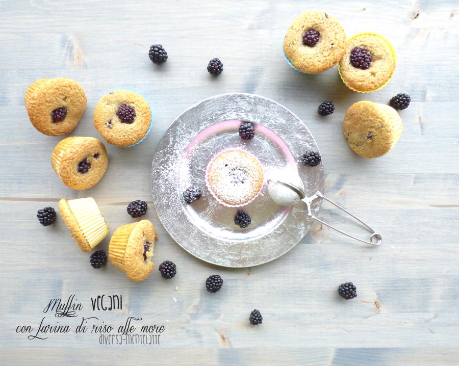 Muffin vegan con farina di riso e more