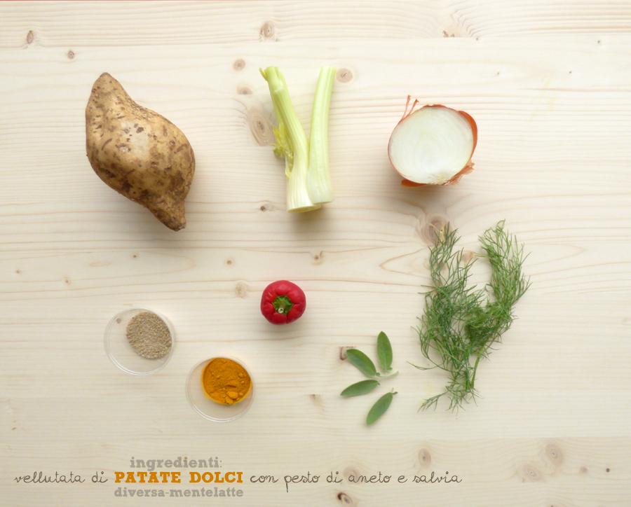 ingredienti vellutata patate-dolci e pesto aneto e salvia