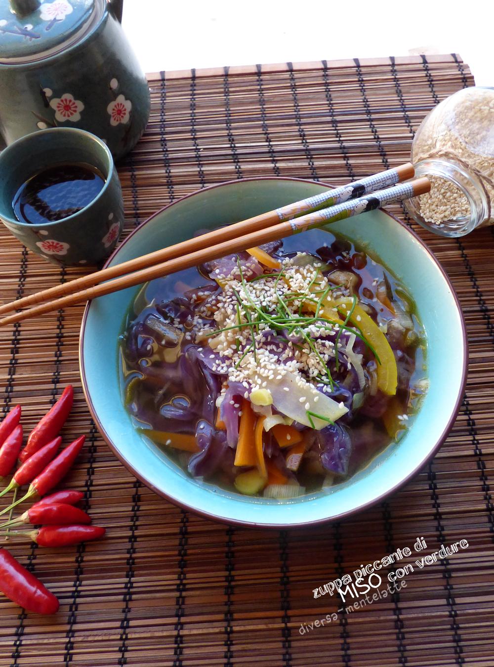 zuppa piccante di miso veg