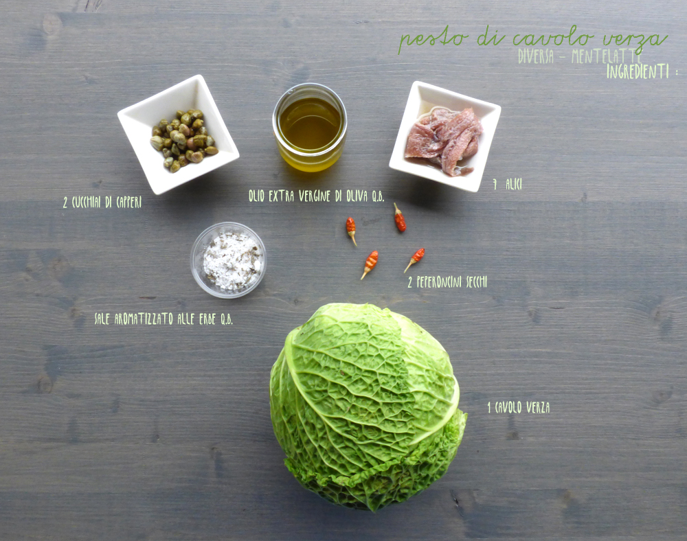 ingredienti pesto di cavolo verza