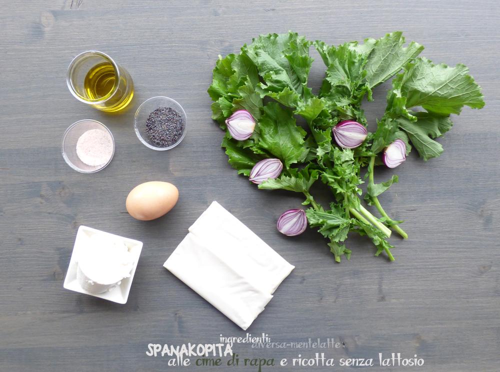 ingredienti spanakopita con cime di rapa