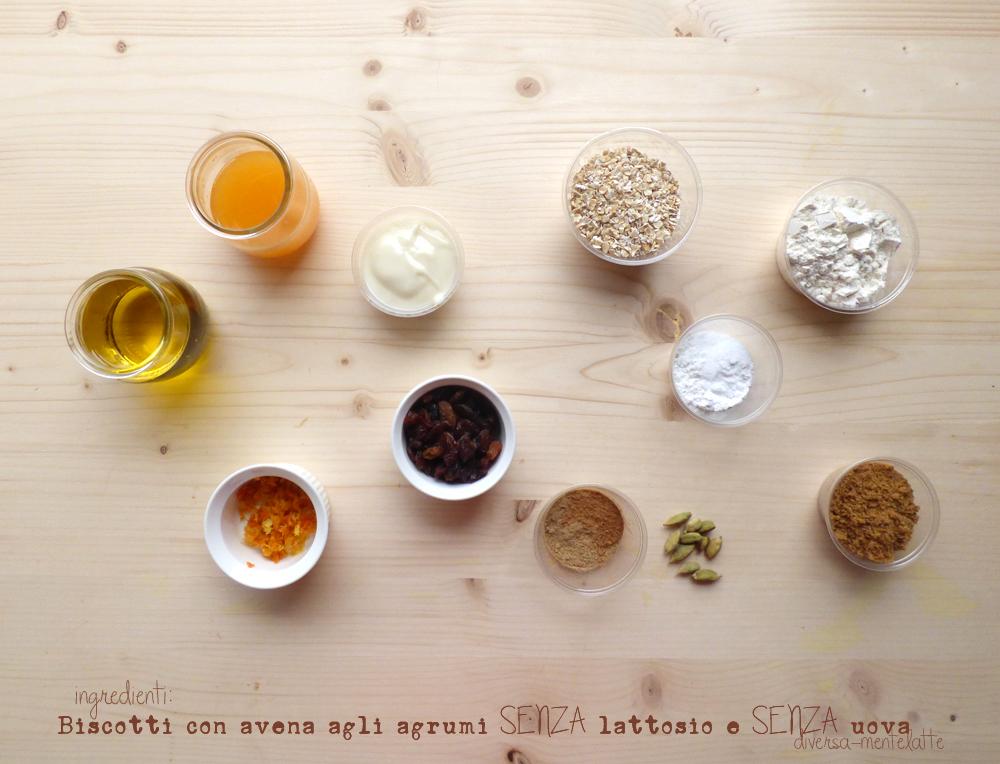 Ingredienti biscotti con avena agli agrumi