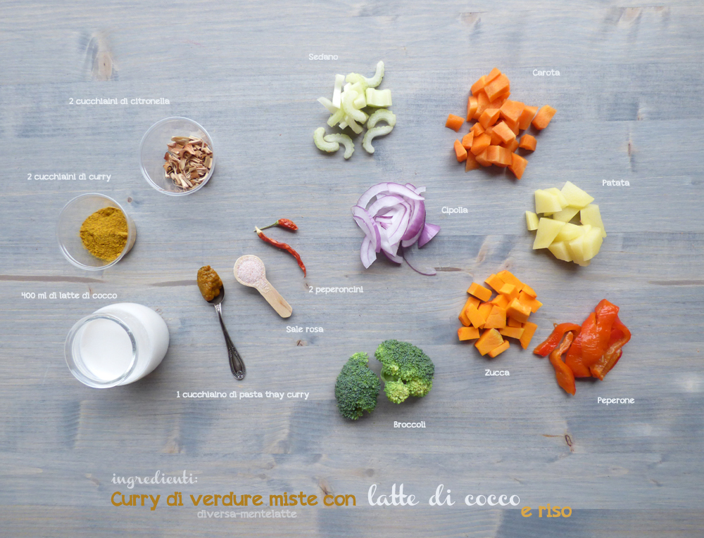 ingredienti curry di verdure-miste-con latte di cocco e riso
