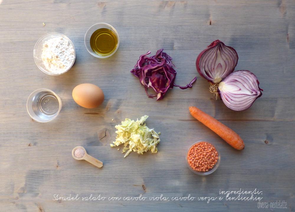 ingredienti strudel salato con cavolo e lenticchie