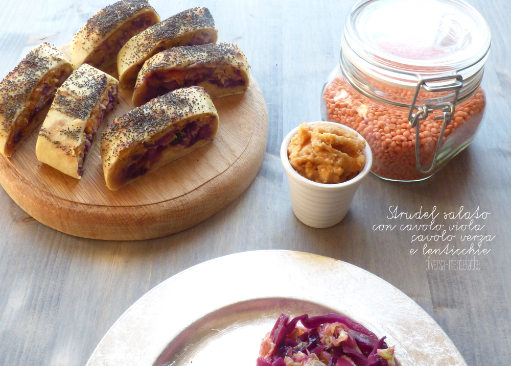 strudel salato con crema di lenticchie