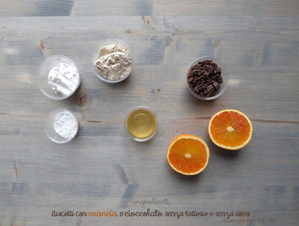 ingredienti biscotti con arancia-e-cioccolato-senza lattosio e senza uova