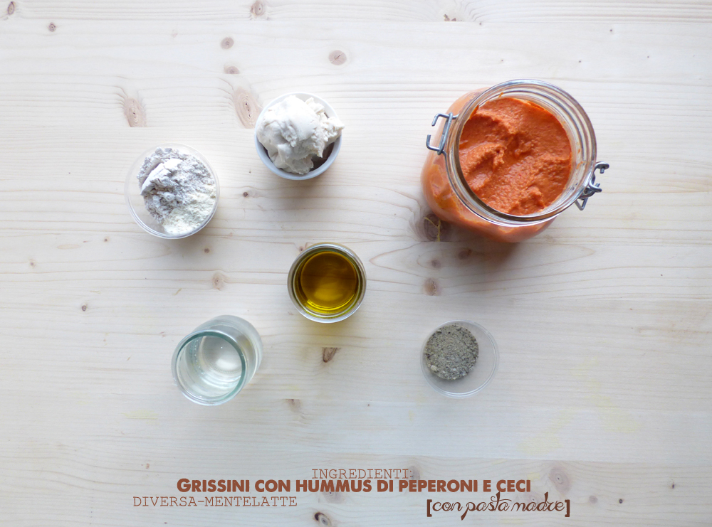 ingredienti grissini con hummus di peperoni