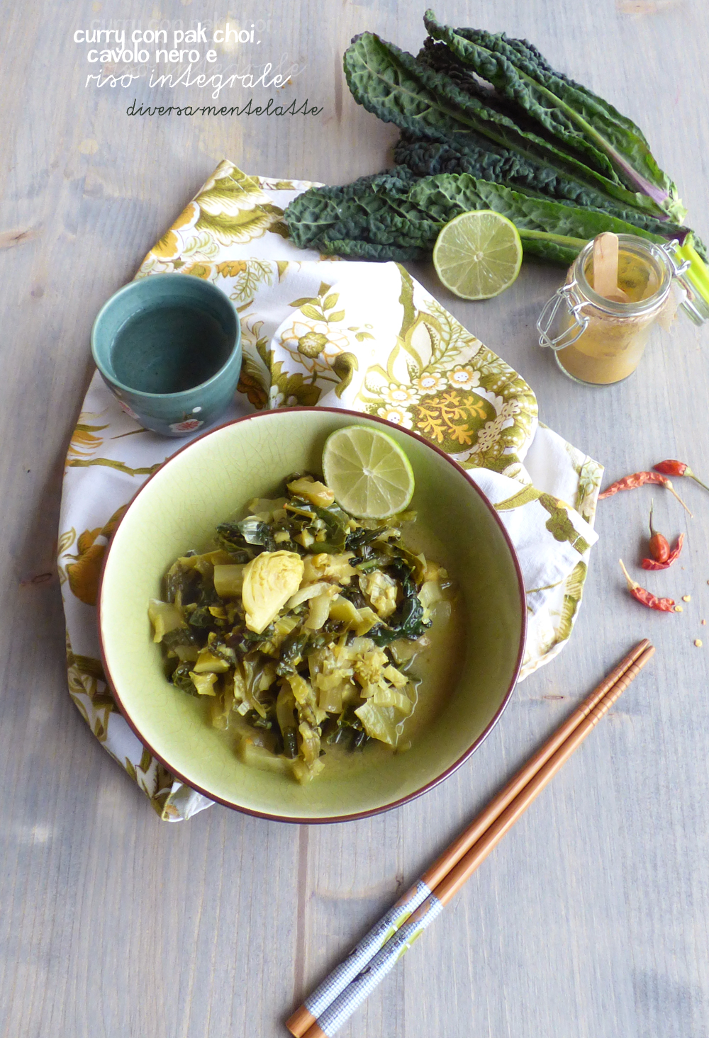 curry con pak choi cavolo nero e broccoli