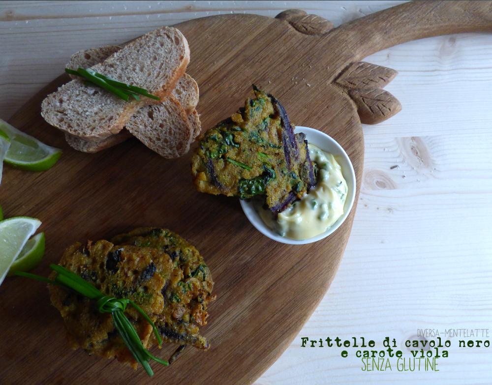 frittelle di cavolo nero e carote viola