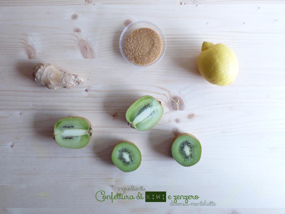 ingredienti confettura di kiwi e zenzero