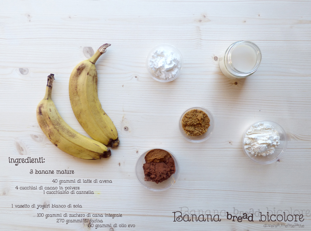 ingredienti banana bread bicolore
