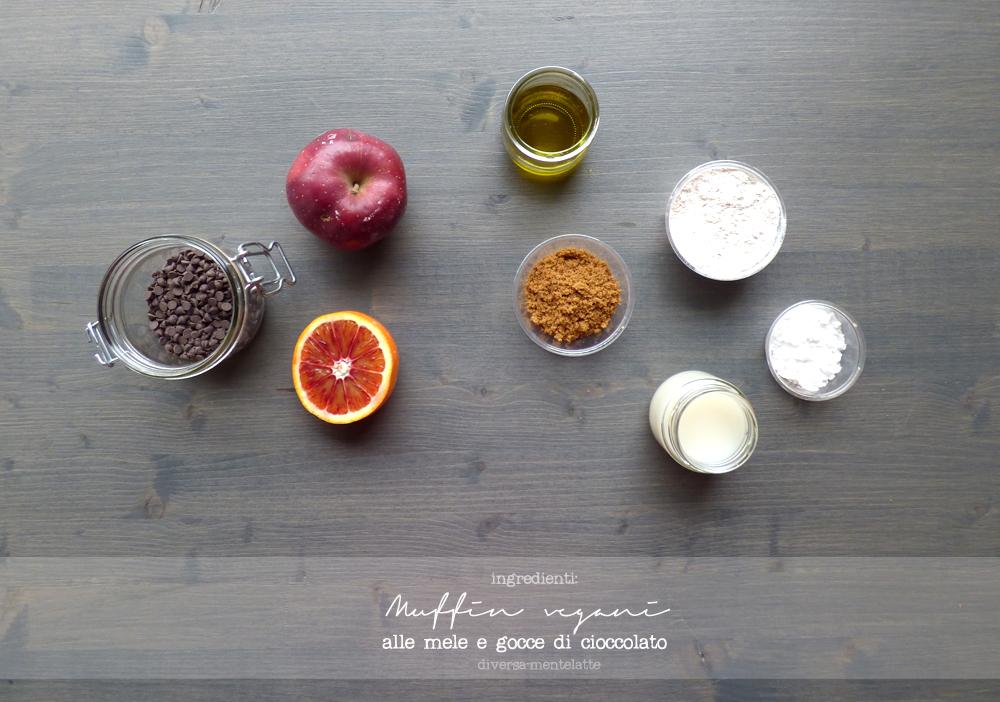 ingredienti muffin vegani alle mele e gocce di cioccolato