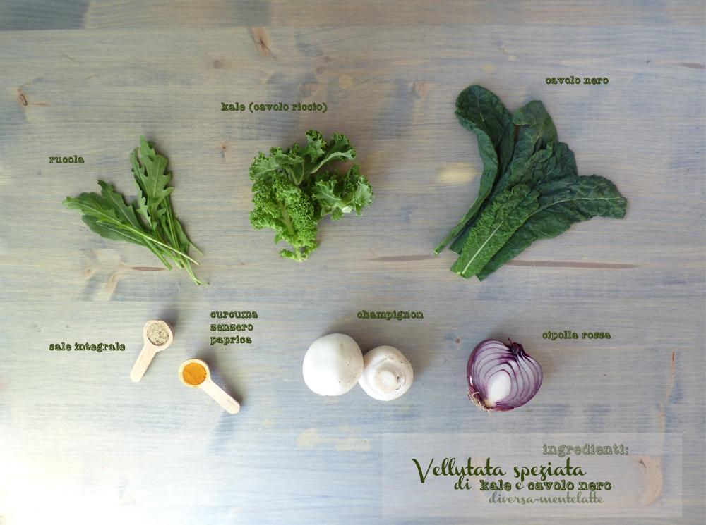 ingredienti vellutata di kale e cavolo nero