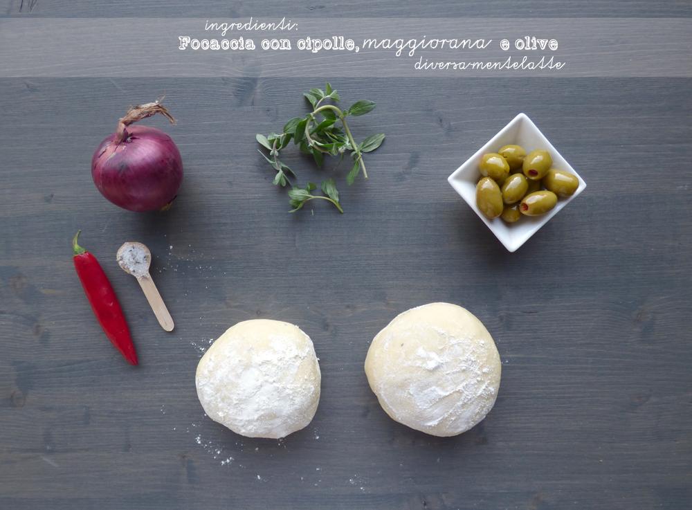 ingredienti focaccia con cipolle maggiorana olive