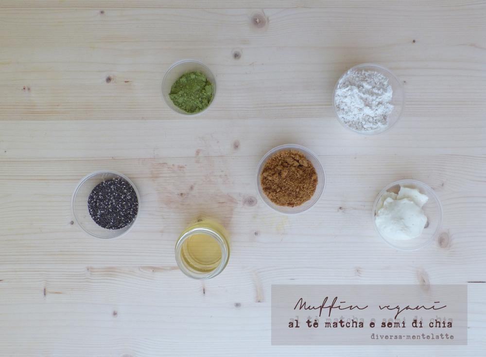 ingredienti muffin vegani al tè matcha e semi di chia