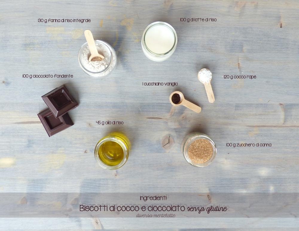 ingredienti biscotti cocco e cioccolato senza glutine