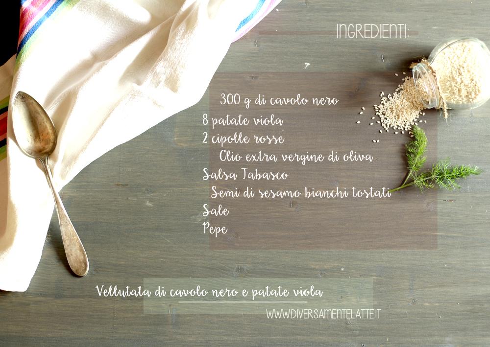 ingredienti vellutata di cavolo nero e patate viola