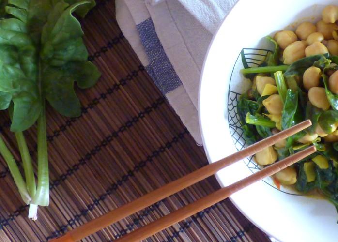 Chana masala con ceci e spinaci